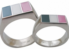 Pink White & Green Rings